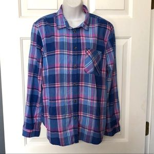AEO Button Up Women's Long Sleeve Plaid Top